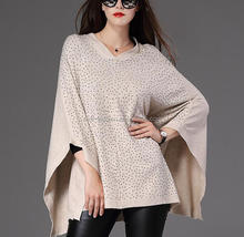 trendy original design V neck beaded knitting women poncho sweater