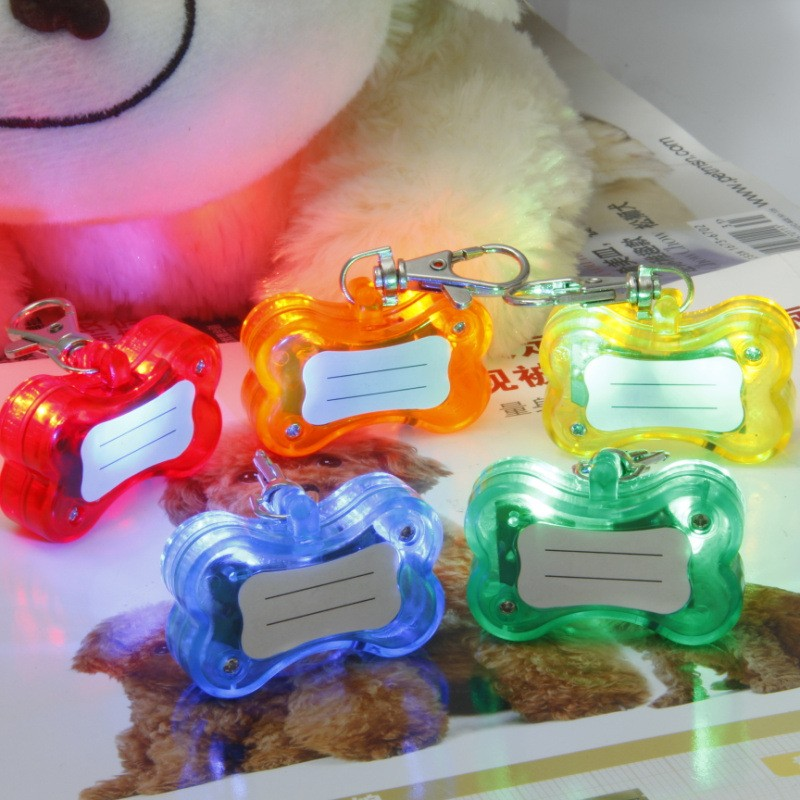 Cute Bone Style Safety Red Flashing LED Light Pet Dog Cat Collar Pendant