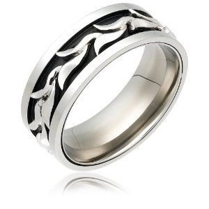 Stainless Steel and Sterling Silver Wave Men's Ring, Size 10