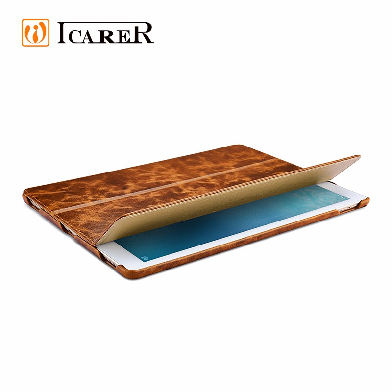 ICARER top cowhide genuine leather hot selling smart case cover for iPad pro 12 inch