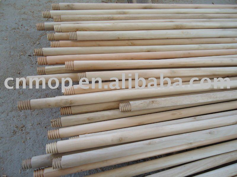 Natural wooden broom stick