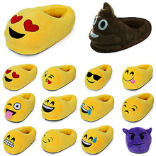 Popular Winter Warm Indoor Soft Plush Emoji Slippers For Men