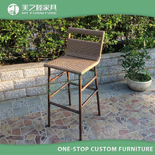 Factory Direct Sale Wholesale Custom Made Outdoor Restaurant Garden Rattan Wicker Aluminum Bar Stool