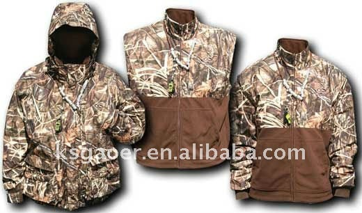 2012 Women's fashion 3-in-1 Camouflage Wader hunting jackets