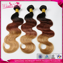 Wowsexy Hair Products Three Tones Ombre Hair Weave T1B/33/27 Color Body Wave Indian Human Hair Weft