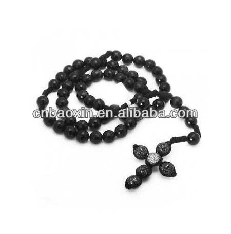 Handmade Fashion Cross Crystal Ball Shamballa Rosary Necklace accessory