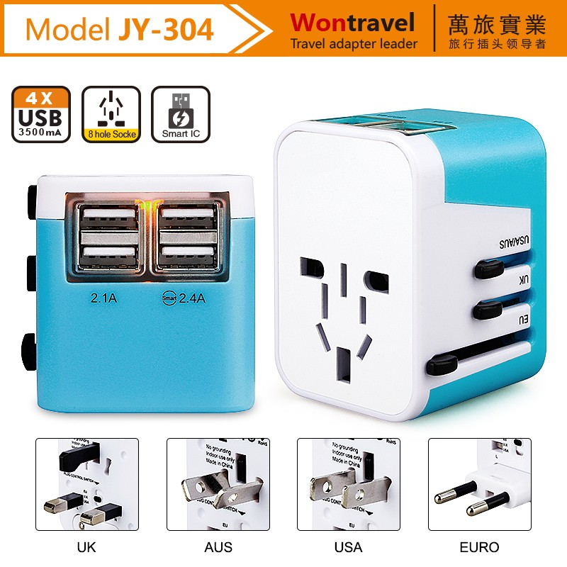 All in 1 <strong>Travel</strong> Worldwide Universal US UK AU EU Electrical Power Plug Adapter