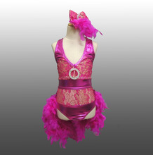 MBQ921 Child dance jazz lycrial lace sequin feather dance costumes