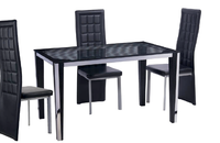 Black Tempered Glass Dining Table With Stainless Steel and MDF and PVC