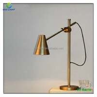 Vintage copper/black iron lampshade table lamp