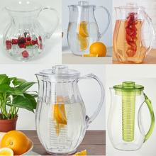 Eco-friendly 2.5L plastic water pitcher with fruit infuser and ice core