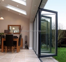 bi folding aluminum frame glass double entry door