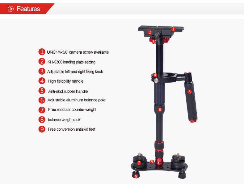 KINGJOY Professional Handheld High Precision DSLR Video Camera Stabilizer VS1047 with Arm for Photography