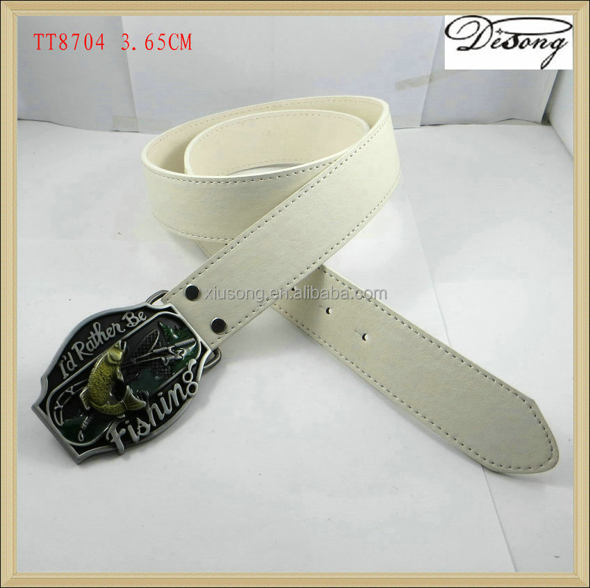 TT8704 OEM wholesale military white leather belt men with western fishing buckle