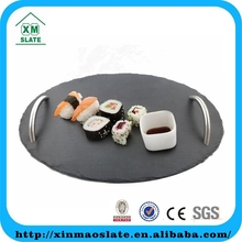 natural black oval slate food serving trays with stainless steel handles