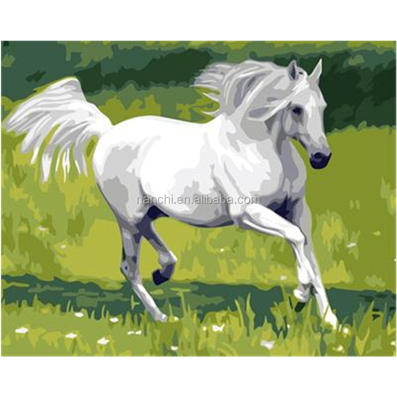 White Horse Framless New arrival unique gift Digital Oil Painting On Canvas painting by numbers decorative <strong>picture</strong>