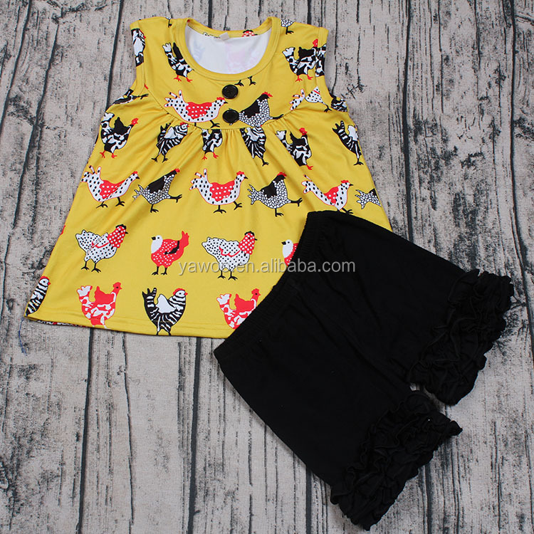 New Design Hot Sale Yawoo Factory Little Girls Sleeveless Boutique Outfits Icing Shorts 2pcs Summer Ruffle Clothing Set Websites