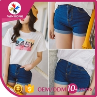 china wholesale Fashion factory price high-waisted Fit Smart blue Denim Shorts jeans for Woman