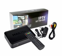 HOT !! mag 250 linux iptv set top box support arabic channels with remote mag 250 4K Full HD 1080P Wifi Linux TV Box