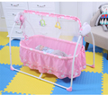 Baby Electric Infant Cradle Swing Crib Folding RC Baby Rocker Vibration Sleeping Bed With Canopy Mosquito Net