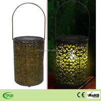 2015 new antique style solar powered metal hanging lantern for home and garden decoration