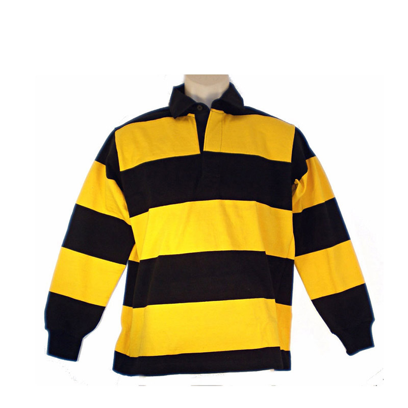 5f7df3ac74e6b Yellow And Black Striped Long Sleeve Rugby Jersey Polo Shirt - Buy ...