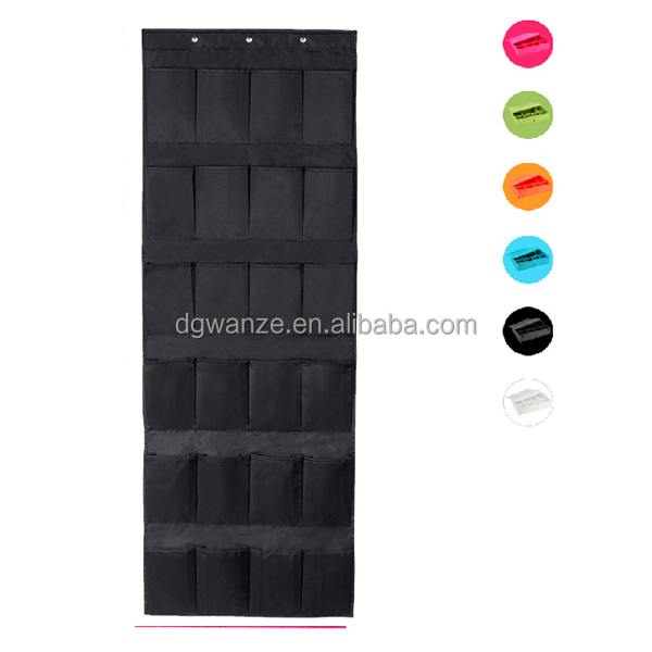 24 pockets hanging organizer Solid color fabric wall pocket organizer high quality polyester fabric hanging organizer