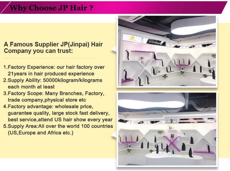 JP Hair 2017 Top Selling Human Virgin Peruvian Hair Suppliers