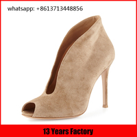 fashion show new design suede leather upper ankle high heel shoes images italian formal shoes