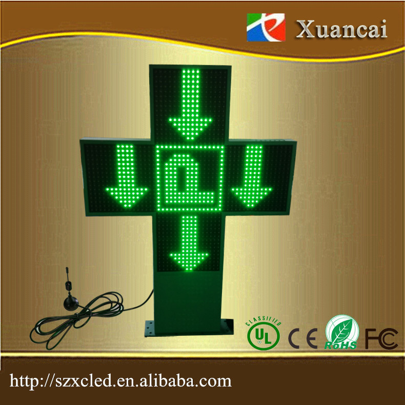 Outdoor double sided display green LED cross pharmacy sign with RF communication
