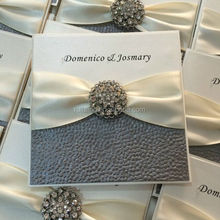 gatefold elegant pewter embossed pebble wedding invitation card