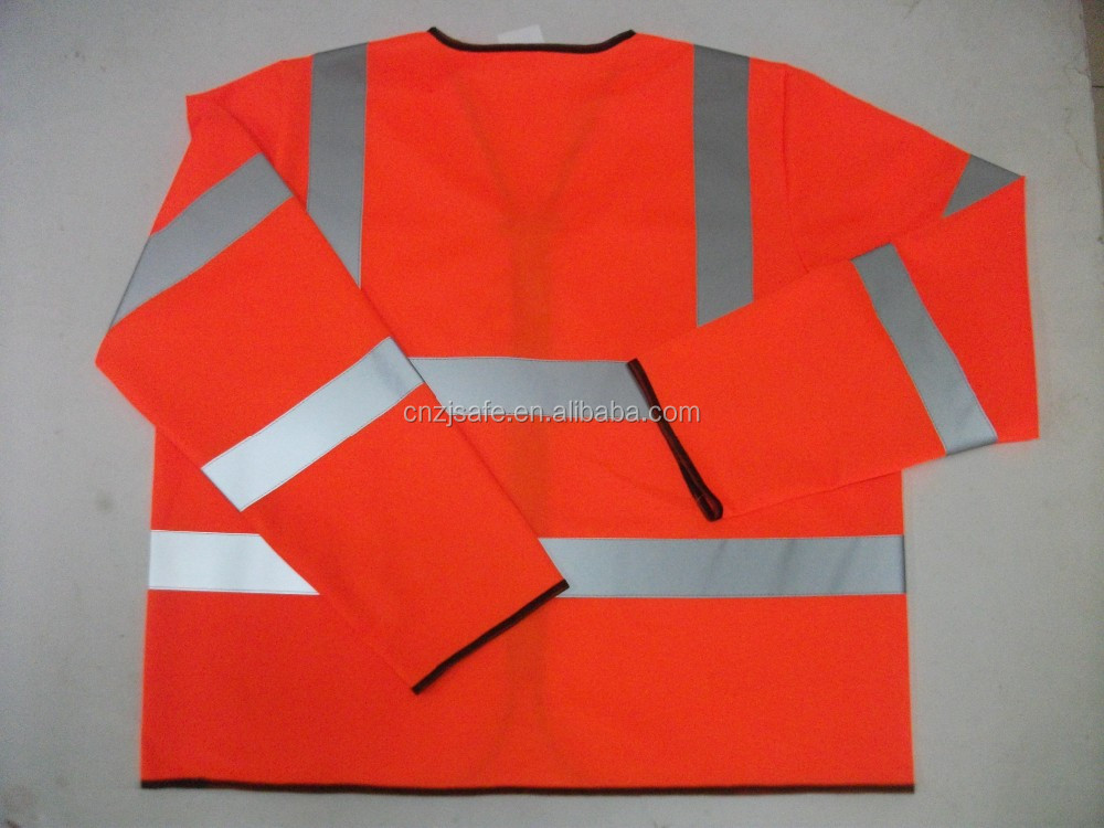 Outdoor Long Sleeve Fluorescent Yellow High Vis Reflective Safety Jacket