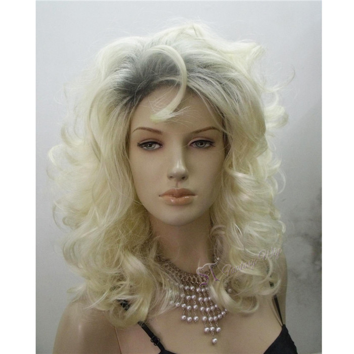 Wholesale synthetic fiber super weave blonde synthetic wigs