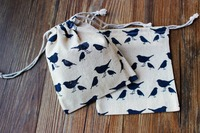 Wholesale linen bag with full printing bird logo, tiny linen jewelry bag