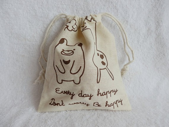 linen cotton customized gift bag jewelry bag pouch fabric purse bear giraffe pig