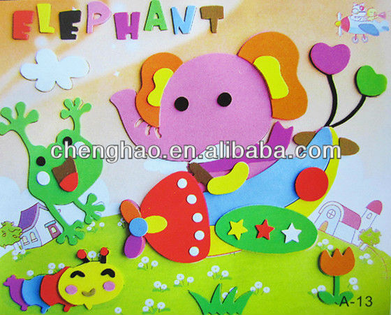 Contemporary 3d funny elephant glass painting diy eva draw