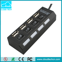 High quality 4 Port Switch 2.0 USB HUB with Led light