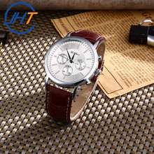 Wholesale 2017 Hot sale Fashion alloy leather watch men's wrist watches Top Brand Luxury Famous Male Clock Wrist Watch