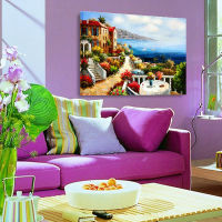 Mediterranean View Original Landscape Oil Painting On Canvas