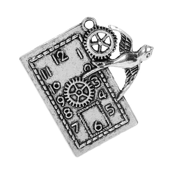 Zinc Based Alloy Steampunk Pendants Rectangle Antique Silver Gear Watch Face Bird Pattern 40mm x 39mm