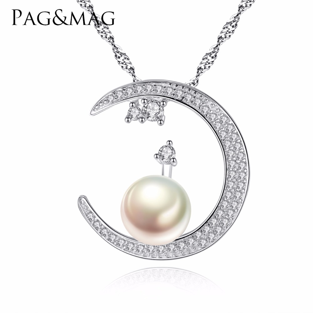 PAG&MAG Lovely Fashion <strong>Jewelry</strong> Half-Moon Shape Freshwater Pearl Pendant Necklace Mounting S925 Sterling Silver <strong>Jewelry</strong>