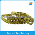 "Women's 1/2"" Gold Color Skinny Braided Faux Leather Belt"