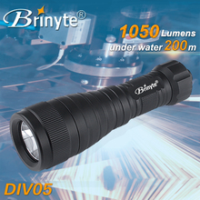 Brinyte DIV05 rotary switch 1000lumens backup dive light