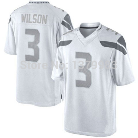 Buy Seattle 3 Russell Wilson Jersey White Platinum Elite stitched ...