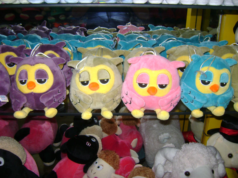18cm lovely customized 4-colour plush night owl keychain toy with plastic sucker