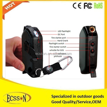 2015 most portable hand crank power generator with lighter and ignitor for mobile charging in the wild