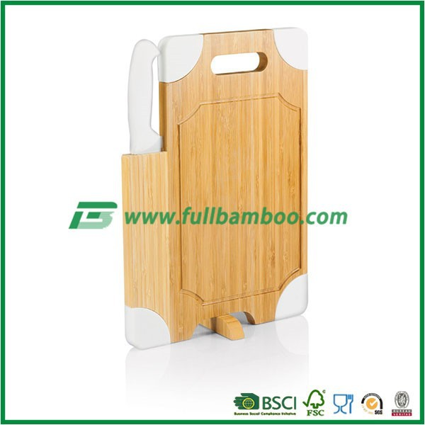 Bamboo Cutting Board with Carving Knife, White