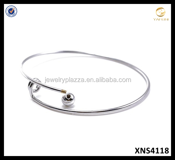 New 925 Sterling Silver Expandable Wire Blank Bangle Bracelet With Thread Clasp
