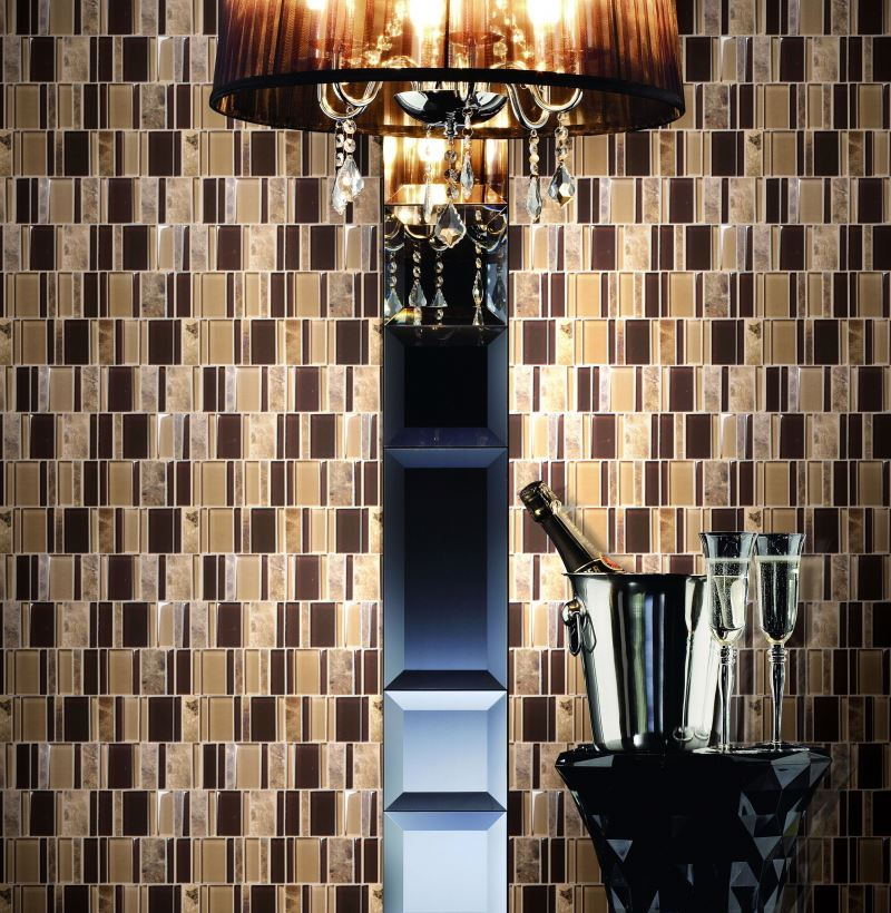 gold color mosaic picture 2015 new design ceramic combinationn glass mosaic brown series for wall indoor