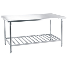 Industrial Stainless Steel Round Tube Portable Kitchen Prep Work Table For Hotel
